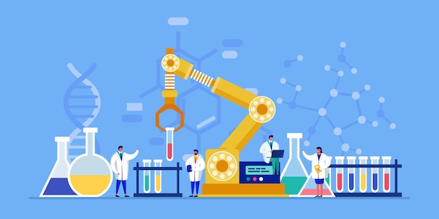 Ученые людей новаторской лаборатории крошечные проводят исследование, медицинское открытие для здравоохранения, химический анализ в склянке с помощью роботов, иллюстрации.
