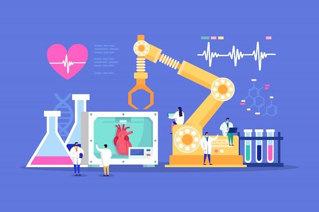 心臓のヘルスケアのための革新的なラボの小さな人々心臓専門医医師の医学的発見、循環器モニターは図を分析します。