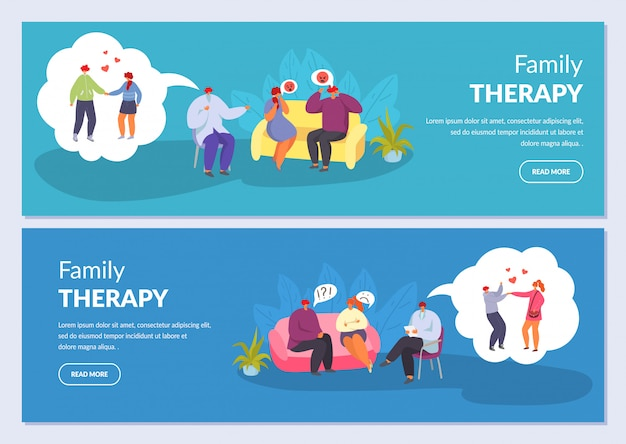 Семейная терапия, психотерапия, пара муж и жена разговаривают с психологом, набор иллюстраций баннеры.