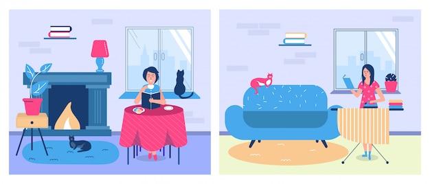 自宅で本や教育を読む人々、宿題のイラストをしながら教科書を持つ女性。