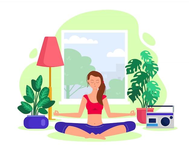 家の内部のロータスの位置で女性を瞑想ヨガと瞑想のフラットイラストでアクティブな女の子。