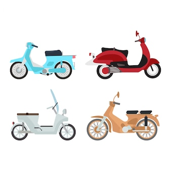 Ретро векторная иллюстрация скутер.
