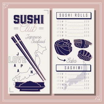レストランメニュー。寿司クラブテンプレート。日本のシーフード。