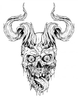 雄牛の角を持つグラフィック人間の頭蓋骨