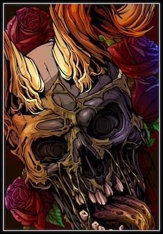 Графический красочный человеческий череп с рогами быка