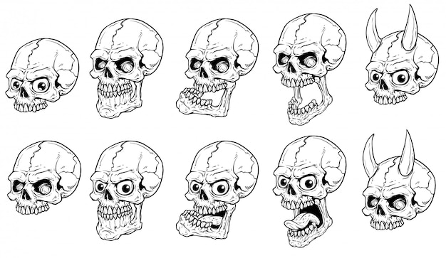 Набор векторных графических реалистичных страшных человеческих черепов