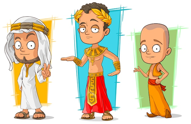 Мультяшный арабский египетский и азиатский набор символов