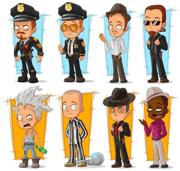 漫画のクールな警官とギャングのキャラクターセット