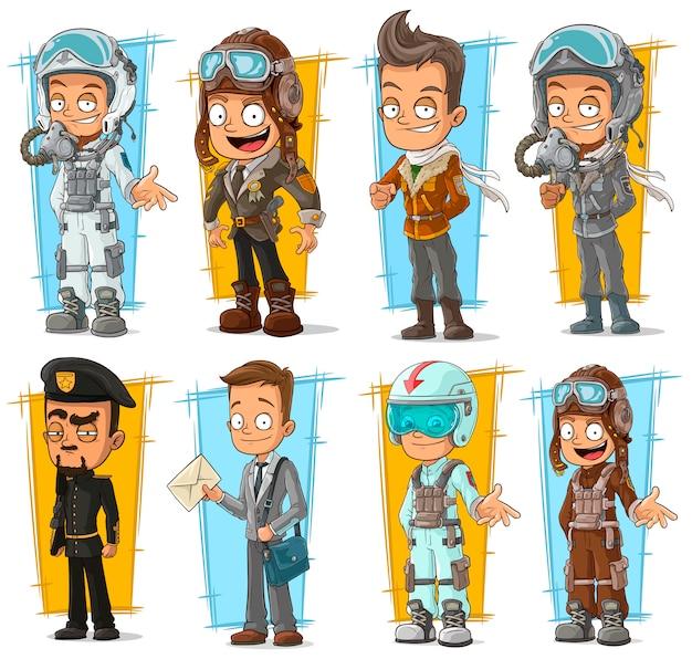 漫画のクールなパイロットと郵便配達のキャラクターセット