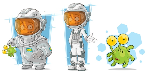 Мультяшный космонавт с инопланетным персонажем