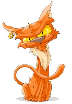 Мультяшный рыжий кот с пирсингом