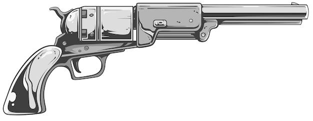 Прохладный старый револьвер в бело-серых тонах