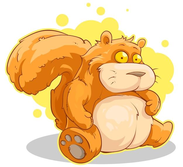 Толстый мультфильм сидит красная белка