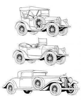 Мультяшный ретро винтаж роскошных кабриолетов