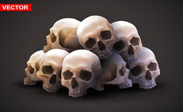 詳細なグラフィックの写実的な人間の頭蓋骨