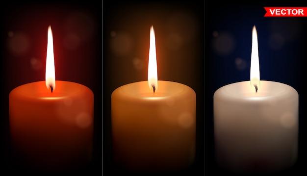 Набор реалистичных больших красочных восковых свечей