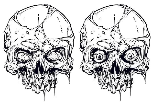 Набор подробных графических белых человеческих черепов