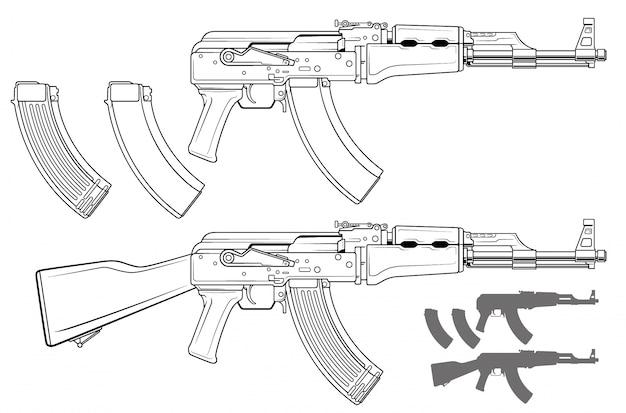 グラフィックモダンな自動ロシアライフル