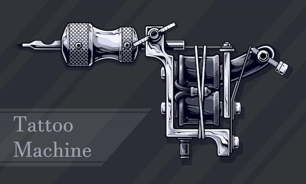 黒と白のグラフィックメタルタトゥーマシン