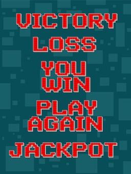 ビデオゲームの赤いピクセルレトロな異なるテキストセット