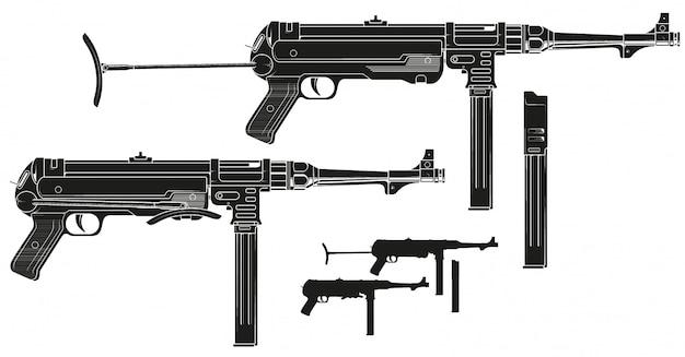 Графический ретро пистолет-пулемет с патронами