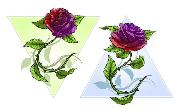 Графические подробные мультяшные розы с набором стволов