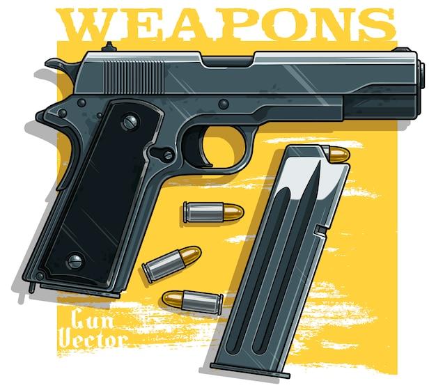 Детализированный графический пистолет с патронами