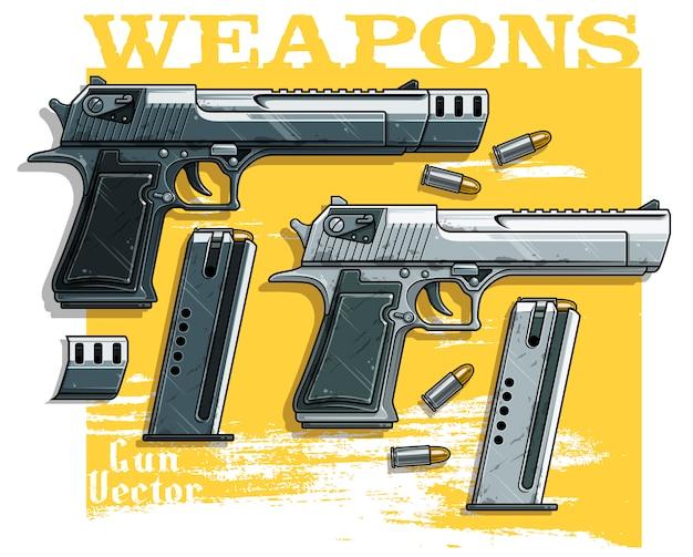 弾薬クリップとグラフィックの詳細なハンドガンピストル
