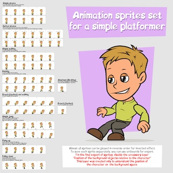 漫画少年プラットフォーマーアニメーションスプライトシートセット