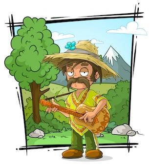 ギターと麦わら帽子の農家の漫画のキャラクター