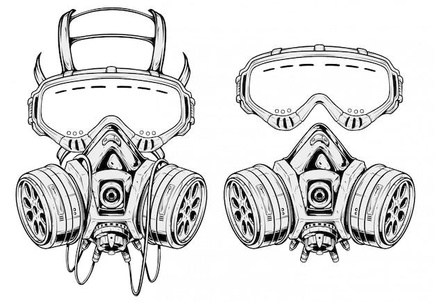 Графический подробный защитный противогаз респиратор