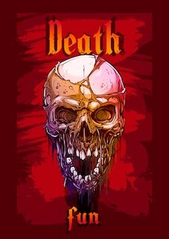 赤の背景に詳細なグラフィック人間の頭蓋骨