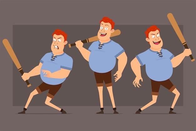 漫画赤毛脂肪少年文字ベクトルを設定