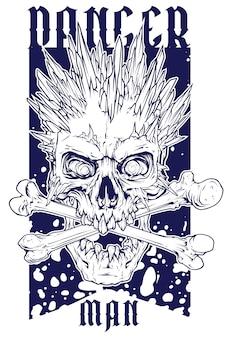 アイススパイクとグラフィックの人間の頭蓋骨
