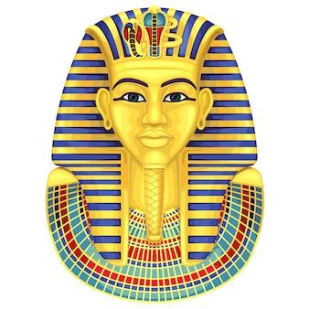 エジプトの黄金のファラオのマスク。古代文化の歌とシンボル。