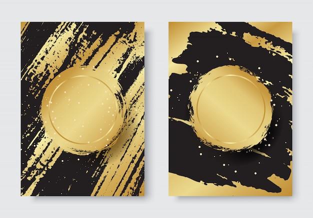 ゴールドと黒の背景にグランジの高級スタイルセット
