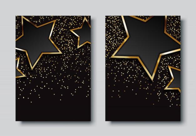 星と豪華な背景デザインセット