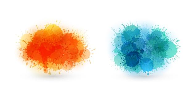 色とりどりの水彩画のしみ