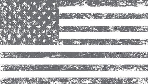 黒と白のグランジアメリカ国旗