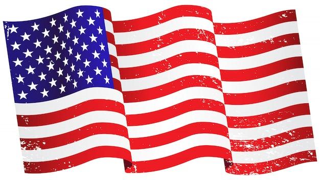アメリカの旗を振る