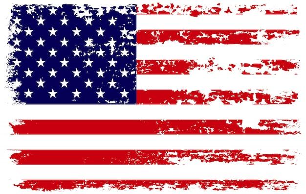 ブラシストロークとグランジアメリカ国旗