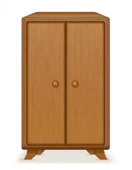 Старый ретро деревянная мебель гардероб векторная иллюстрация
