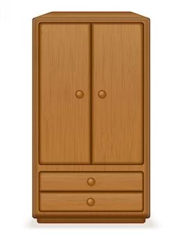 古いレトロな木製家具ワードローブベクトルイラスト