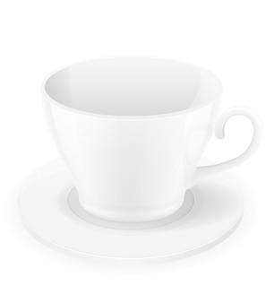 磁器のカップとソーサーのベクトル図