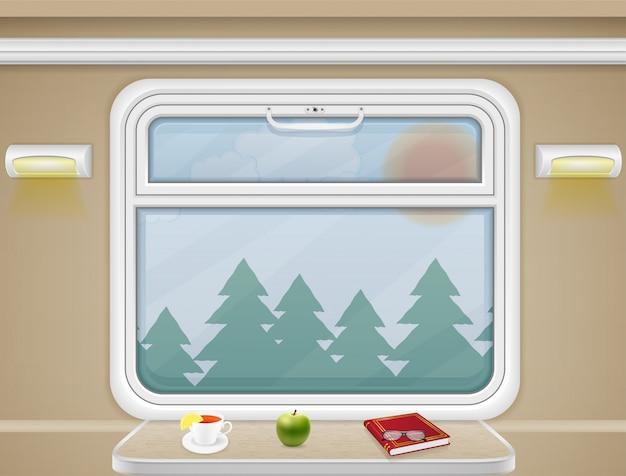 Окно и стол в купе поезда вектор