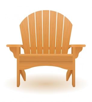 Пляж или садовое кресло лежак шезлонг из дерева векторная иллюстрация