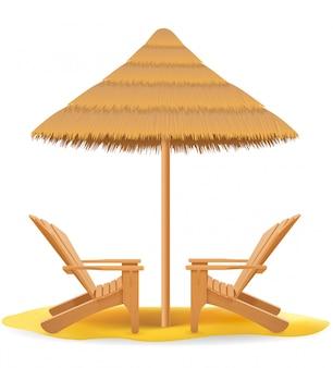 Пляжное кресло лежак шезлонг деревянный и зонтик из соломы и тростника векторная иллюстрация