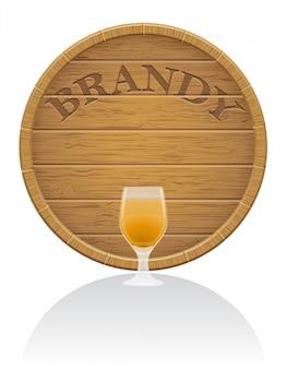 Деревянная бочка с бренди и стеклянная векторная иллюстрация