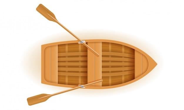 木製ボートトップビューベクトル図
