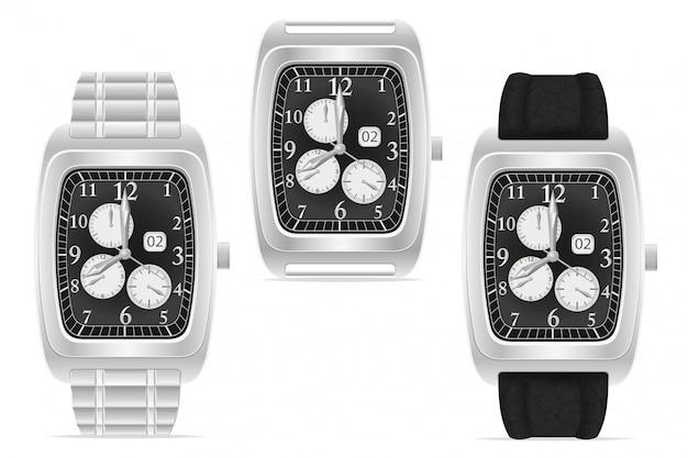 シルバーの機械式腕時計のベクトル図